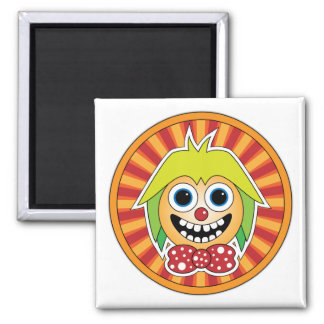 Funny clown 2 inch square magnet