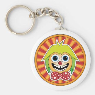 Funny clown basic round button keychain