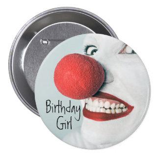 Funny Clown Face Birthday Girl Button