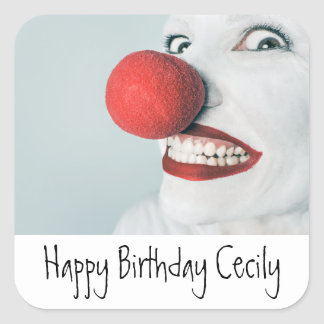 Funny Clown Face Birthday Square Sticker