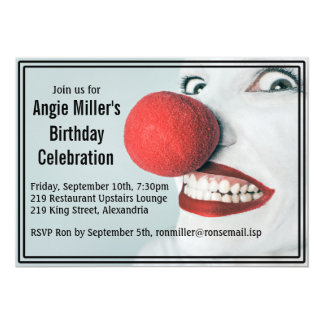 Funny Clown Face Modern Birthday Card