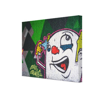 Funny Clown Head With White Face Canvas Print