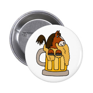 Funny Clydesdale Horse in Beer Mug Pins