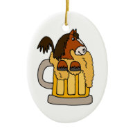 Funny Clydesdale Horse in Beer Mug Christmas Ornaments