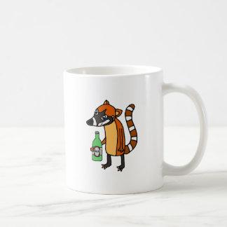 Funny Coatimundi Drinking Beer Cartoon Coffee Mug