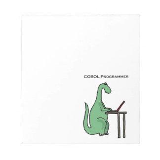 Funny COBOL Programmer Dinosaur Note Pad