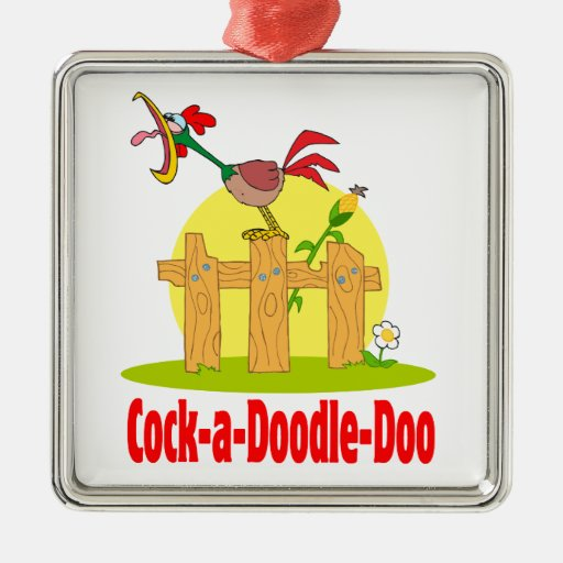 funny cock a doodle doo roster crowing square metal christmas ornament