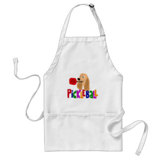 Funny Cocker Spaniel with Pickleball Paddle Adult Apron