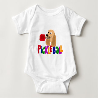 Funny Cocker Spaniel with Pickleball Paddle Baby Bodysuit