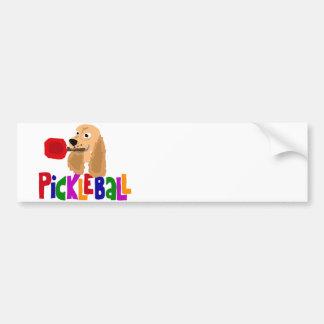 Funny Cocker Spaniel with Pickleball Paddle Bumper Sticker
