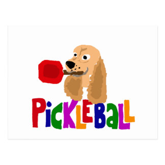 Funny Cocker Spaniel with Pickleball Paddle Postcard