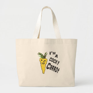 funny cocky carrot  is amazing peace  of ar work large tote bag