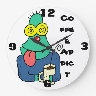 Funny Coffee addict Wall Clock
