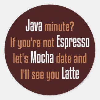 Funny Coffee Date Classic Round Sticker