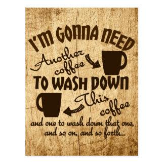 Funny Coffee Lover's Caffeine Typography Postcard
