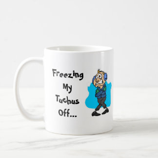 """FUNNY COFFEE MUG """"FREEZING NORTH~SUNNY SOUTH"""" BASIC WHITE MUG"""