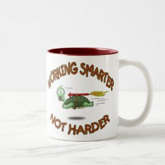 Funny Coffee Mugs: Work Smarter not Harder Two-Tone Coffee Mug