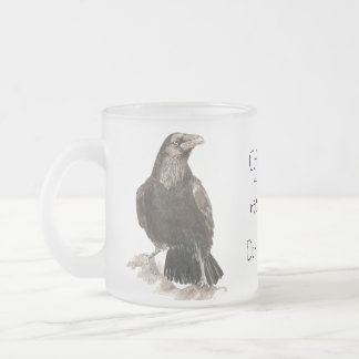 Funny Coffee needs Donuts! Ravens Bird Frosted Glass Coffee Mug