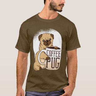 Funny Coffee PUG Dog Lovers Graphic Cartoon Cute T-Shirt