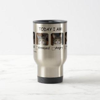 Funny Coffee Travel Mug Cat Mood Meter