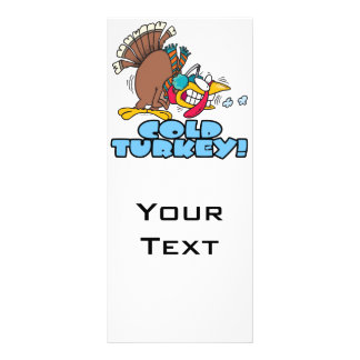 funny cold turkey cartoon rack card design