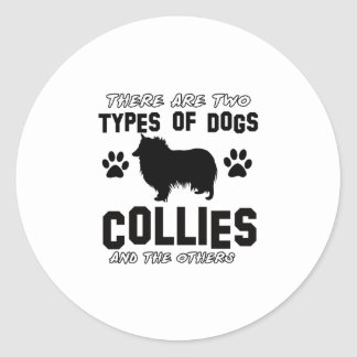 Funny colie designs classic round sticker