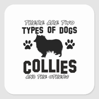 Funny colie designs square sticker