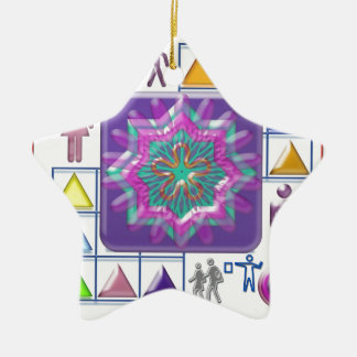 FUNNY Color Cartoons PURPLE Show :lowprice GIFTS Double-Sided Star Ceramic Christmas Ornament