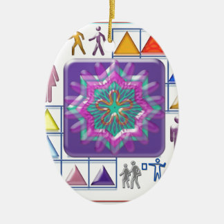 FUNNY Color Cartoons PURPLE Show :lowprice GIFTS Double-Sided Oval Ceramic Christmas Ornament