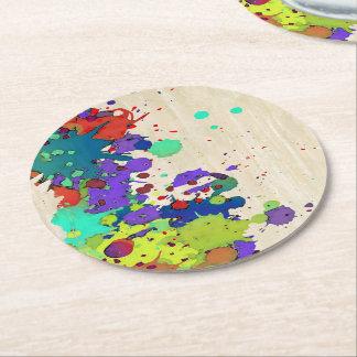 FUNNY COLOR SPLASH I + your ideas Round Paper Coaster