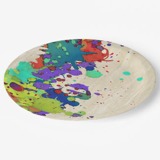 FUNNY COLOR SPLASH I + your ideas 9 Inch Paper Plate