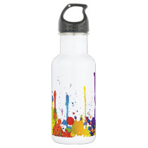 FUNNY COLOR SPLASH II   your backgr. & ideas Water Bottle