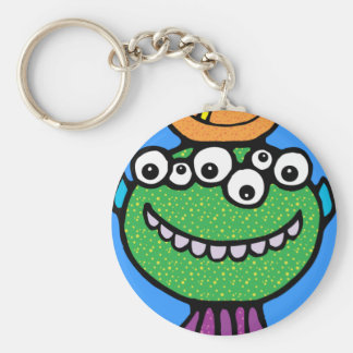 FUNNY COLORFUL ALIEN INSECTS CHARACTERS CARTOONS BASIC ROUND BUTTON KEYCHAIN
