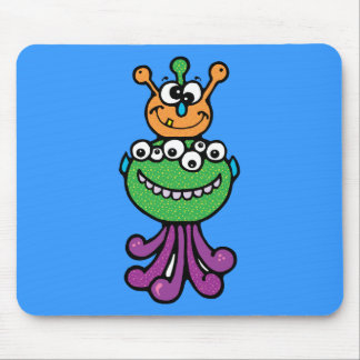 FUNNY COLORFUL ALIEN INSECTS CHARACTERS CARTOONS MOUSE PADS