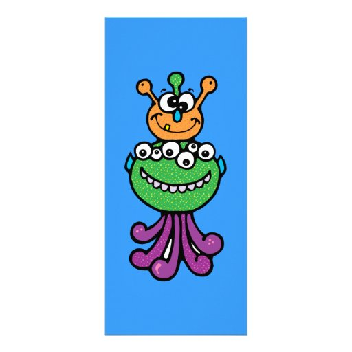 FUNNY COLORFUL ALIEN INSECTS CHARACTERS CARTOONS O RACK CARD