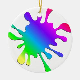 Funny Colorful Art Rainbow Paint Splatter Ceramic Ornament
