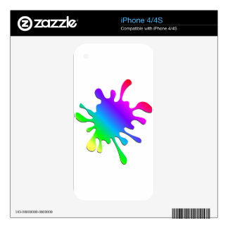 Funny Colorful Art Rainbow Paint Splatter iPhone 4 Decal