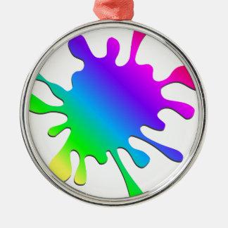 Funny Colorful Art Rainbow Paint Splatter Metal Ornament
