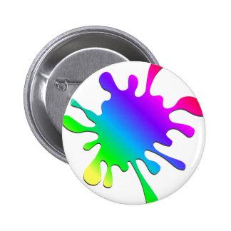 Funny Colorful Art Rainbow Paint Splatter Pinback Button