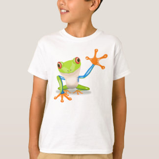Funny Colorful Big Green Cartoon Frog Waving Arms T-Shirt