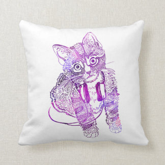 Funny Colorful Cat in Headphones illustration Throw Pillow
