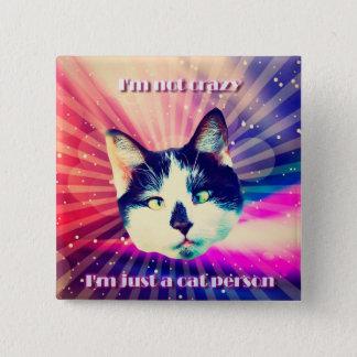 Funny colorful cat person button