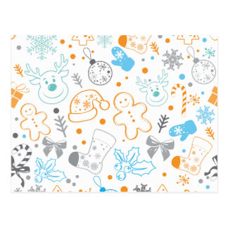 Funny Colorful Christmassy Pattern Postcard