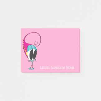 Funny Colorful, Cute, Cartoon | Add Your Message Post-it Notes