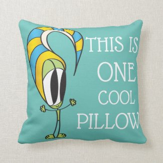 Funny, Colorful, Cute Cartoon | Add Your Message T Throw Pillow