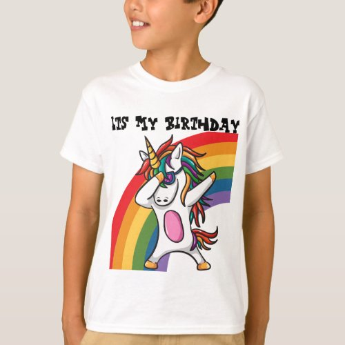 Funny Colorful Dabbing Unicorn Childrens T_Shirt