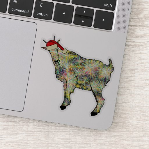 Funny Colorful Festive Goat Christmas Farm Animal Sticker