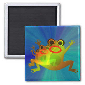 Funny colorful Frog Cartoon Jumping Square Magnet