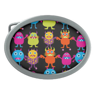 Funny Colorful Monster Party Creatures Characters Oval Belt Buckles