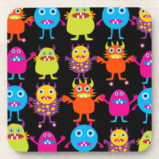 Funny Colorful Monster Party Creatures Characters Beverage Coaster